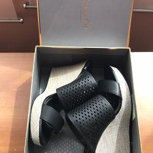 Brand new Italian leather platforms
